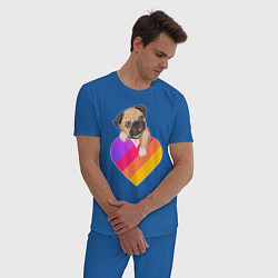 Пижама хлопковая мужская Мопс Likee цвета синий — фото 2