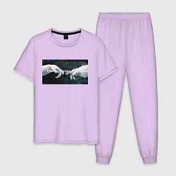 Пижама хлопковая мужская Открой свою галактику цвета лаванда — фото 1