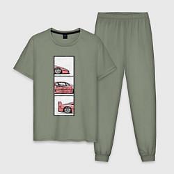 Пижама хлопковая мужская F40 TRIPLE цвета авокадо — фото 1