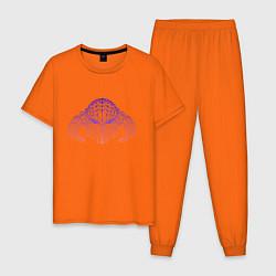 Пижама хлопковая мужская Warhammer helmet gradient цвета оранжевый — фото 1