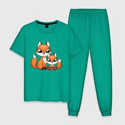 Пижама хлопковая мужская Милые лисята цвета зеленый — фото 1