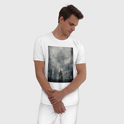 Пижама хлопковая мужская Игра в которой ничего не понятно цвета белый — фото 2