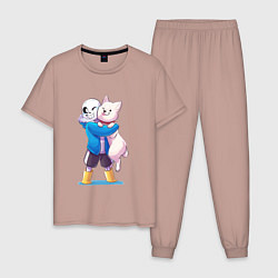 Пижама хлопковая мужская UNDERTALE цвета пыльно-розовый — фото 1