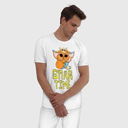 Пижама хлопковая мужская Гнар цвета белый — фото 2