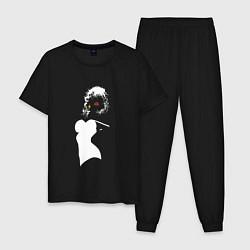 Пижама хлопковая мужская Обыденность цвета черный — фото 1