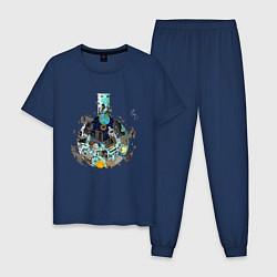 Пижама хлопковая мужская Эволюция от Доктора Камня цвета тёмно-синий — фото 1