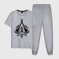 Пижама хлопковая мужская Assassin's Creed цвета меланж — фото 1