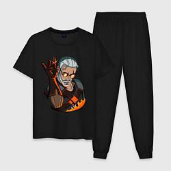 Пижама хлопковая мужская Ведьмак цвета черный — фото 1