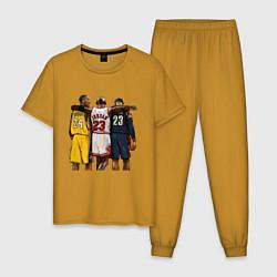Пижама хлопковая мужская Bryant, Jordan, James цвета горчичный — фото 1