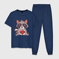 Пижама хлопковая мужская Енотик с Сердечком цвета тёмно-синий — фото 1