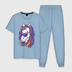 Пижама хлопковая мужская Rasta Unicorn цвета мягкое небо — фото 1
