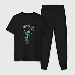 Пижама хлопковая мужская Пришелец Жонглер цвета черный — фото 1