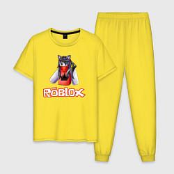 Пижама хлопковая мужская ROBLOX цвета желтый — фото 1