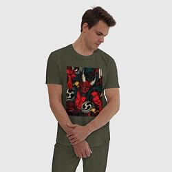 Пижама хлопковая мужская God of thunder цвета меланж-хаки — фото 2