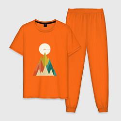 Пижама хлопковая мужская Путешественник цвета оранжевый — фото 1