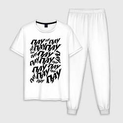 Пижама хлопковая мужская ПАУ-ПАУ-ПАУ цвета белый — фото 1