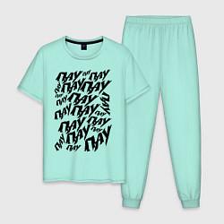 Пижама хлопковая мужская ПАУ-ПАУ-ПАУ цвета мятный — фото 1