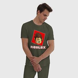Пижама хлопковая мужская ROBLOX цвета меланж-хаки — фото 2