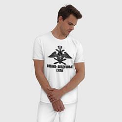 Пижама хлопковая мужская Военно - воздушные силы цвета белый — фото 2