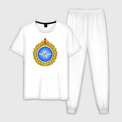 Пижама хлопковая мужская Военно - воздушные силы цвета белый — фото 1