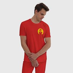 Пижама хлопковая мужская Виктор Цой цвета красный — фото 2