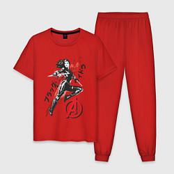 Пижама хлопковая мужская Черная Вдова цвета красный — фото 1