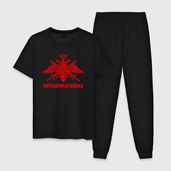 Пижама хлопковая мужская Пограничные Войска цвета черный — фото 1