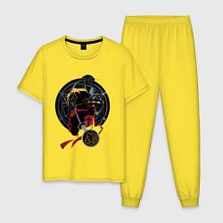 Пижама хлопковая мужская Стальной алхимик цвета желтый — фото 1