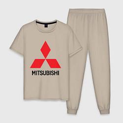 Пижама хлопковая мужская MITSUBISHI цвета миндальный — фото 1