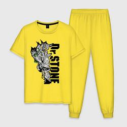 Пижама хлопковая мужская Доктор Стоун цвета желтый — фото 1