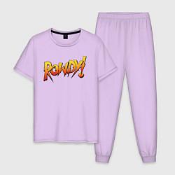 Пижама хлопковая мужская Rowdy цвета лаванда — фото 1
