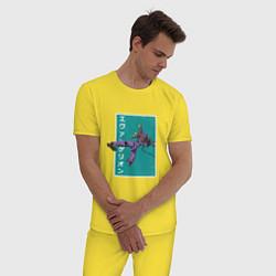 Пижама хлопковая мужская Евангелион цвета желтый — фото 2