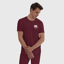 Пижама хлопковая мужская VENUM цвета меланж-бордовый — фото 2
