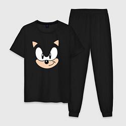 Пижама хлопковая мужская Sonic лицо цвета черный — фото 1