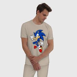 Пижама хлопковая мужская Sonic цвета миндальный — фото 2