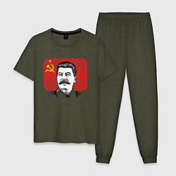 Пижама хлопковая мужская Сталин и флаг СССР цвета меланж-хаки — фото 1
