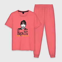 Пижама хлопковая мужская Noize MC цвета коралловый — фото 1