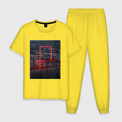 Пижама хлопковая мужская Neon in the city цвета желтый — фото 1