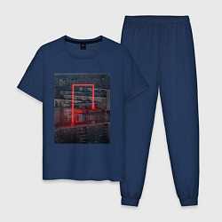 Пижама хлопковая мужская Neon in the city цвета тёмно-синий — фото 1