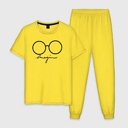 Пижама хлопковая мужская Imagine John Lennon цвета желтый — фото 1