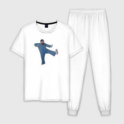 Пижама хлопковая мужская Little Big: UNO цвета белый — фото 1