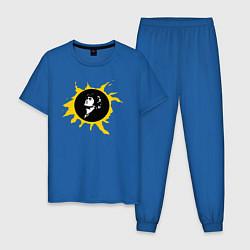 Пижама хлопковая мужская Кино цвета синий — фото 1