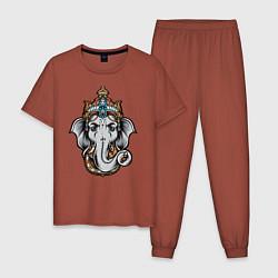 Пижама хлопковая мужская Ганеш цвета кирпичный — фото 1