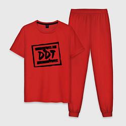 Пижама хлопковая мужская ДДТ Лого цвета красный — фото 1
