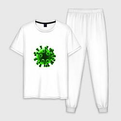 Пижама хлопковая мужская Пережил коронавирус 2020 цвета белый — фото 1