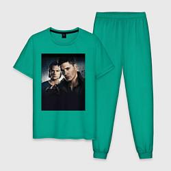 Пижама хлопковая мужская Winchester Brothers цвета зеленый — фото 1