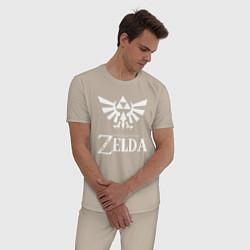 Пижама хлопковая мужская THE LEGEND OF ZELDA цвета миндальный — фото 2