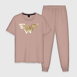 Пижама хлопковая мужская Wonder Woman logo цвета пыльно-розовый — фото 1