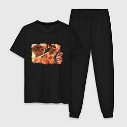 Пижама хлопковая мужская АТАКА ТИТАНОВ цвета черный — фото 1