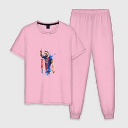 Пижама хлопковая мужская Месси цвета светло-розовый — фото 1